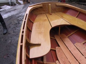 12' custom whitehall - flame cherry transom.