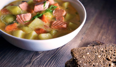 Creamy Finnish Salmon Soup with rye bread