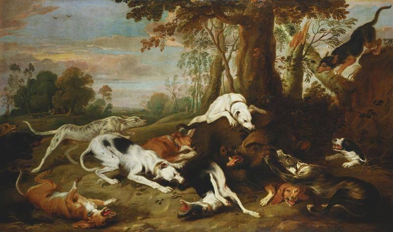 Die Bärenjagd mit Windhunden.