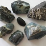 Obsidian nugget surrounded by blue slag