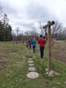 Families walk the labyrinth