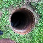 View of septic tank hole