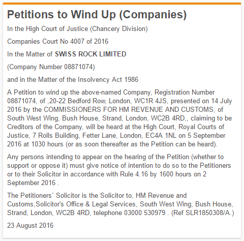 swiss rock petition winding up notice gazette bhs dominic chappell insolvency lawyers london
