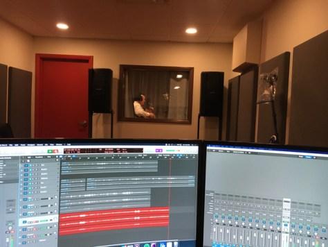 Producer recording artist Kevin Hanson in the studio.