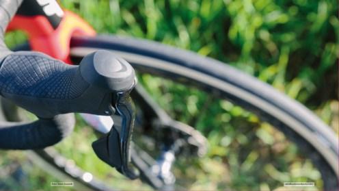 Ein Großteil der Anbauteile am Defy-Sunweb-Teambike stammt von Shimano