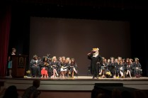 Mycharia Spurling is revealed as H.J. the tiger to the Women's College to students in Pearce Auditorium during the Class Day at Brenau University's Alumnae Reunion Weekend. During the program the student who was secretly portraying H.J. for the year is unmasked.