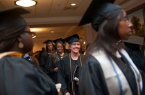 Brenda Hamrick smiles as she leaves the banquet hall of the First Baptist Church in Gainesville after the undergraduate and graduate commencement services.