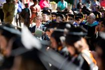 Brenau University President Ed Schrader presented U.S. Rep. Doug Collins, R-Ga., with an aerial photo of Brenau's Gainesville campus during this years undergraduate and graduate commencement ceremony.