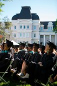 Graduates on the front lawn of Brenau University's Gainesville campus.