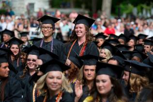 Mengqui Zhao of Zhengzhou, China and Cassey Wyatt of Canton, Georgia were the only two candidates for a Bachelor of Arts in music at this year's Women's College commencement ceremony