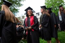 Carmen Garcia, waits with the other Bachelor of Science candidates to receive their diplomas during this year's Brenau Women's College commencement ceremony.