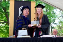 Dr. Nancy Krippel and Ashley Elizabeth Lee, a winner of both the Alpha Lambda Delta Award for maintaining a perfect 4.0 grade point average as well as the Cora Anderson Hill Award, named for a Brenau alumna from Gainesville with a distinguished career in journalism and public service.