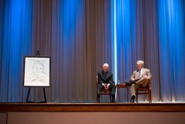 Former President Jimmy Carter, left, discusses his book A Call to Action alongside Brenau University President Ed Schrader during a question and answer session with Brenau's first-year students. Carter's book, which focuses on worldwide discrimination and violence toward women, was the first-year students' common reader.