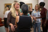 Occupational therapy doctoral student Haylee Gamble, left, chats with Dr. Irma Alvardo, one of the occupational therapy faculty at Brenau, during a reception for the new doctoral students.
