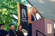 Jenny Black, mother of performer Bonner Black, addressed the Brenau Women's College class of 2015 before her daughter performed.
