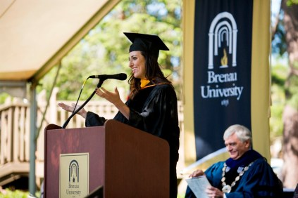 Amanda Slavin, founder and CEO of CatalystCreativ, addresses this years graduates during the 2015 Undergraduate and Graduate Commencement at Brenau.
