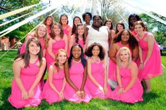 Brenau University Women's College May Court Queen, Meagan Ryals, middle in white dress, poses with the May Court Saturday, April 11, 2015 in Gainesville, Georgia. Photo Barry Williams/ Brenau University)