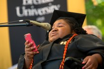 Byronica Banks gives a speech addressing how much her grandmother DeBerne Kelly meant to her while acting as her caregiver at Brenau University.