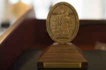 A medallion accompanies the Mary Mildred Sullivan award the was presented to Mary Cleveland during the celebration to honor the dedication of The Cleveland Physical Therapy Lobby at the Brenau Downtown Center on Friday, July 3, 2015, in Gainesville, Georgia. (AJ Reynolds for Brenau University)