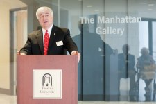 Brenau President Ed Schrader speaks during the celebration to honor the dedication of The Cleveland Physical Therapy Lobby at the Brenau Downtown Center on Friday, July 3, 2015, in Gainesville, Georgia. (AJ Reynolds for Brenau University)