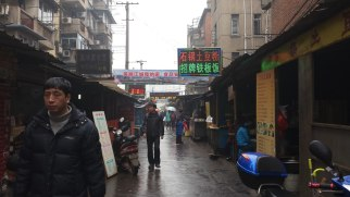 This is one of many small streets among the apartment buildings and stores of Wuhu where families worked in small businesses. This particular street was a food market with a number of small open-air restaurants as well as food stalls selling produce, poultry (mostly live), and meats. If you wanted a duck, a cut of pork, groceries, or a full stir-fried dinner, this market was the place to go.