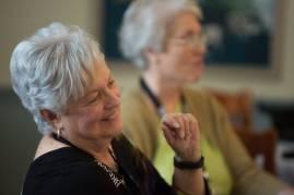Susan Moody Stevens, WC '66, laughs at the 24 Karat Gold Club & Golden Roses Tea on Friday, April 15, 2016, in Gainesville, Ga. (AJ Reynolds/Brenau University)
