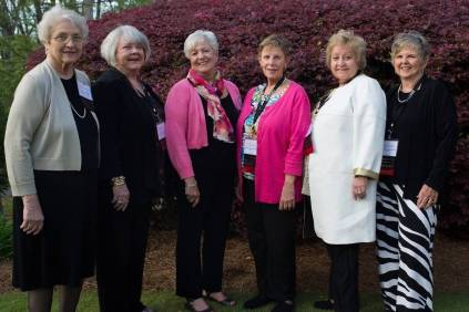Members of the Women's College Class of 1966 (left to right) Mary Ann Griner Mulligan, Suzanne Steiner Rotz, Susan Moody Stevens, Julia Godwin Newton, Rebecca Horn Maisel and Julia Murchison Barker pose for a photo during the Brenau University Alumnae Reunion Weekend on Friday, April 15, 2016, in Gainesville, Ga. (AJ Reynolds/Brenau University)