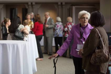 Patricia Fargason, WC '68, at the Wine & Cheese Opening Reception on Friday, April 15, 2016, in Gainesville, Ga. (AJ Reynolds/Brenau University)