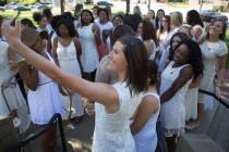 Allie Smith, a mass communication major, takes a selfie with her junior classmates during the Brenau University Alumnae Reunion Weekend on Saturday, April 16, 2016, in Gainesville, Ga. (AJ Reynolds/Brenau University)
