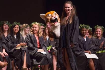Dayle Lane, a senior organizational leadership major, is unveiled as H.J. the Brenau Mascot at Class Day during the Brenau University Alumnae Reunion Weekend on Saturday, April 16, 2016, in Gainesville, Ga. (AJ Reynolds/Brenau University)