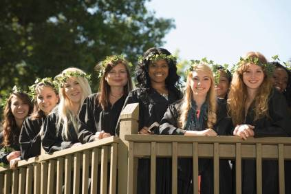 Women's College seniors perched atop Brenau's iconic Crow's Nest during the class day festivities, 2016 Alumnae Reunion Weekend
