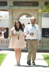 Samantha Fountain, freshman class representative, escorted by her father, Tim Fountain; 2016 Alumnae Reunion Weekend