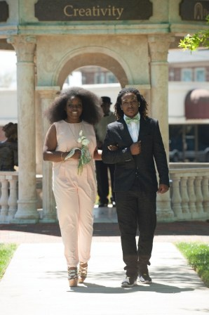 Princess Shainie Cox escorted by her brother, Kevin Cox. 2016 Alumnae Reunion Weekend