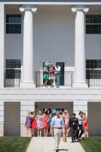 Attendees walks near the new residence hall during the Brenau University Alumnae Reunion Weekend on Saturday, April 16, 2016, in Gainesville, Ga. (AJ Reynolds/Brenau University)