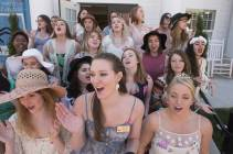 Alpha Chi Omega members sing outside their house. 2016 Alumnae Reunion Weekend