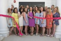 Phi Mu sisters perform the ribbon cutting ceremony during Sorority Open House, 2016 Alumnae Reunion Weekend