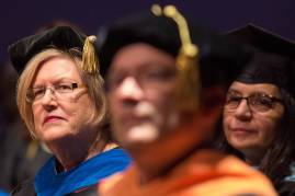Dr. Barbara Schell, director of the School of Occupational Therapy and associate dean of the College of Health Sciences, listens during the Brenau University College of Health Sciences Graduate Hooding Ceremony on Thursday, May 5, 2016. (AJ Reynolds/Brenau University)