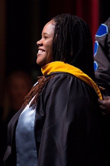 Georcol Gomillion is hooded for a Master of Science in Clincial Counseling Psychology during the Brenau University College of Health Sciences Graduate Hooding Ceremony on Thursday, May 5, 2016. (AJ Reynolds/Brenau University)