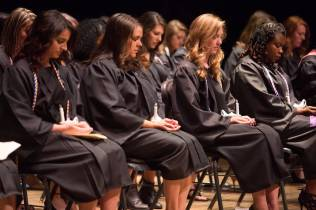 Students take part in the Blessing of the Hands during the Brenau University School of Nursing Pinning Ceremony on Thursday, May 5, 2016 in Pearce Auditorium in Gainesville, Ga. (AJ Reynolds/Brenau University)