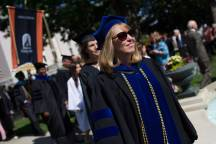 Women's College Dean Debra Dobkins takes part in the processional during The Women's College commencement on Friday, May 6, 2016, in Gainesville, Ga. (AJ Reynolds/Brenau University)
