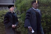 Allen Patmon, right, and Sara Propes, both receiving Occupational Therapy Doctorate Degrees, process from Pearce Auditorium to the Front Lawn during the Brenau University Undergraduate and Graduate Commencement on Saturday, May 7, 2016, in Gainesville, Ga. (AJ Reynolds/Brenau University)