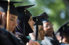 Hessah Almutairi, a candidate for a Masters of Education degree, listens to the commencement address during the Brenau University Undergraduate and Graduate Commencement on Saturday, May 7, 2016, in Gainesville, Ga. (AJ Reynolds/Brenau University)