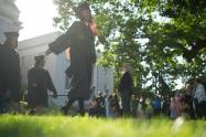 Graduates process onto the front lawn for the Brenau University Undergraduate and Graduate Commencement on Saturday, May 7, 2016, in Gainesville, Ga. (AJ Reynolds/Brenau University)