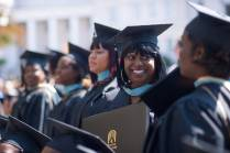 Chloe Dillard, BU '16, talks with other gtraduates after receiving her Master of Education degree in Early Childhood Education during the Brenau University Undergraduate and Graduate Commencement on Saturday, May 7, 2016, in Gainesville, Ga. (AJ Reynolds/Brenau University)