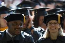 Dr. Allen Patmon and Dr. Sara Propes, both Occupational Therapy Doctorate, listen during the Brenau University Undergraduate and Graduate Commencement on Saturday, May 7, 2016, in Gainesville, Ga. (AJ Reynolds/Brenau University)