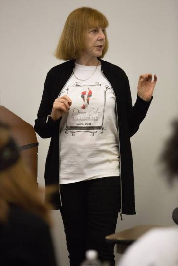 Diana Eden lectures on costume design during The Art of Costume Design workshop presented by Diana Eden. (AJ Reynolds/Brenau University)