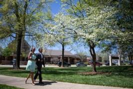 Freshman Autumn Jordan is escorted by her father, Michael Bostic. (AJ Reynolds/Brenau University)