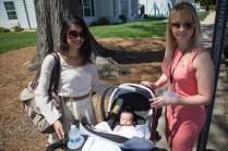 Jasmine Drawhorn WC '14, Miranka van Hintum WC '13, and baby Adrian Drawhorn pose for a photo. (AJ Reynolds/Brenau University)