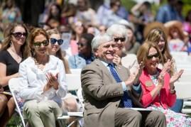 Brenau President Ed Schrader and his wife Myra Schrader watch the May Day festivities.(AJ Reynolds/Brenau University)