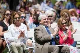 Brenau President Ed Schrader and his wife Myra Schrader watch the May Day festivities.(AJ Reynolds/Brenau University)